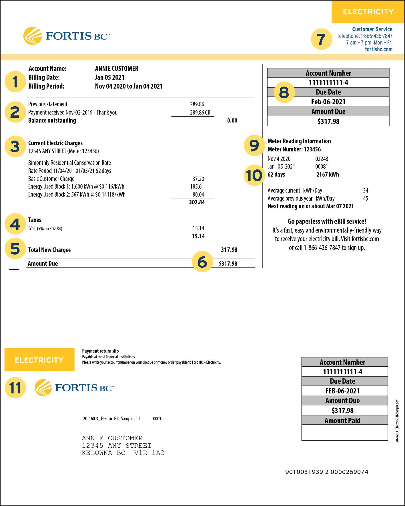 Electric bill sample