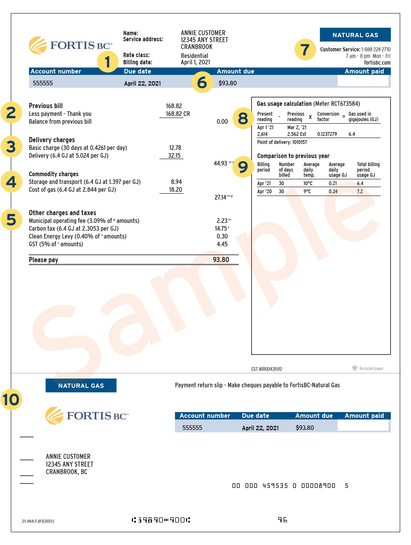 Natural gas sample bill