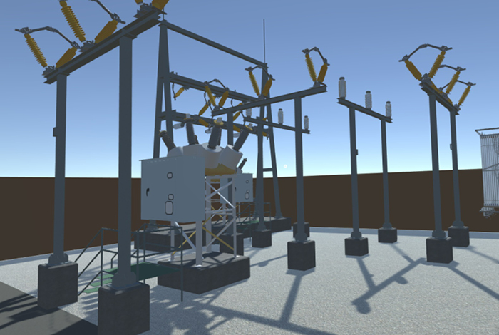 Virtual reality display of electric substation