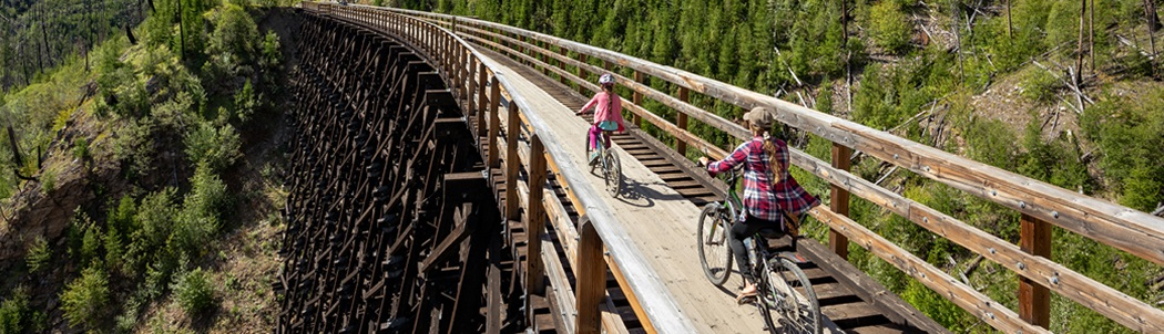 Two people riding their bikes across a trestle.