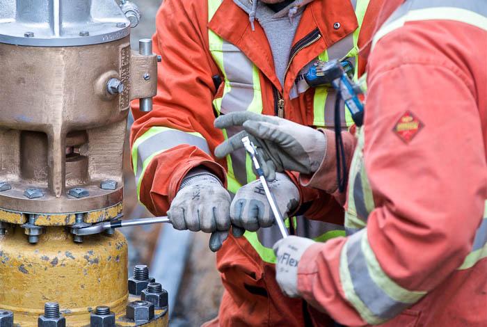 Two workers repairing