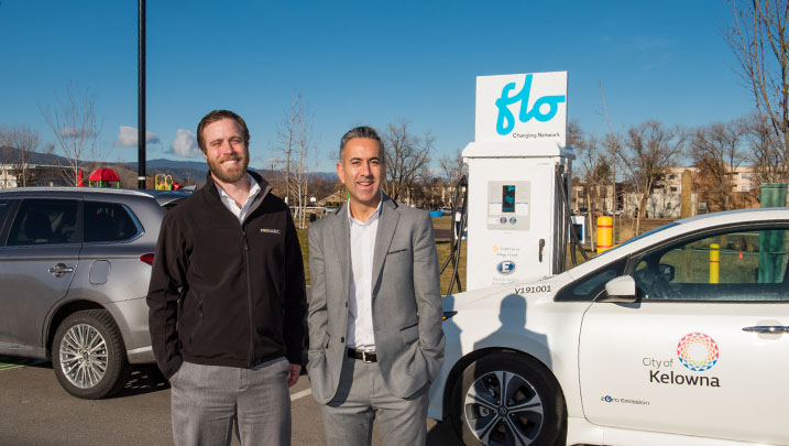 Mayor Basran at the new direct current fast charge station on Shepherd Road with Michael Leyland of FortisBC.