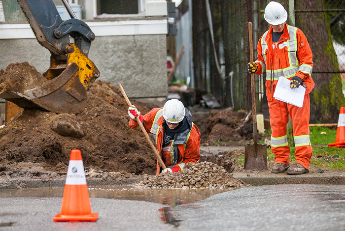 FortisBC construction crew repairs a natural gas line leak