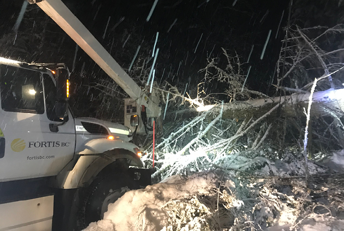 FortisBC truck removing fallen trees