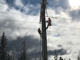 Crew working on powerline