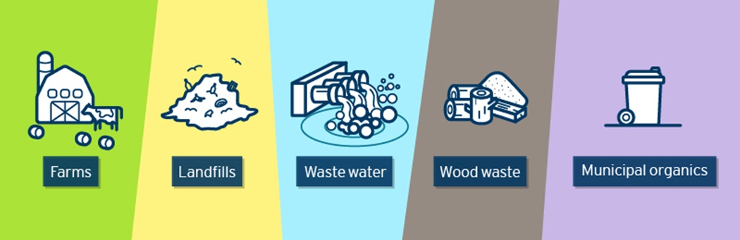 Illustration showing icons representing farms, landfills, waste water, wood waste and municipal organics.
