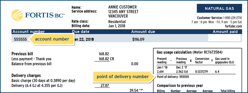 A clipping of a Customer Choice natural gas bill showing where the account number and the point of delivery number is.  (17-337.3)